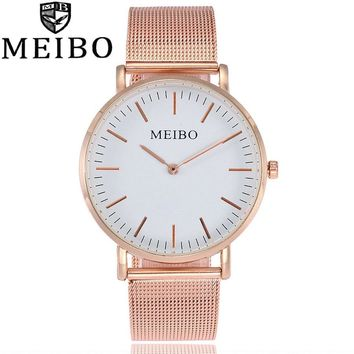 MEIBO Luxury Brand Quartz Watch Casual Fashion Women Watch Stainless Steel Mesh Strap Ultra Thin 2 Hands Hours Relogio Feminino