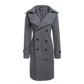 Winter Warm Women Lapel Double-breasted Back Slit Long Wool Blend Coat