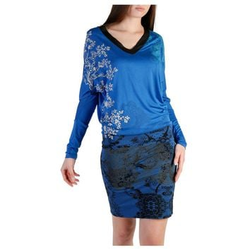Desigual Blue V-Neck Long Sleeve Floral Print Dress