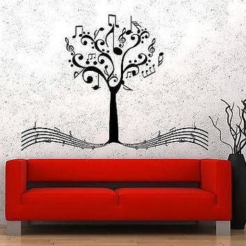 Wall Vinyl Music Notes Tree For Bedroom Guaranteed Quality Decal Unique Gift (z3529)