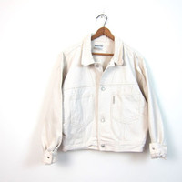 Off White Jean Jacket Slouchy Cropped Denim Coat 90s Button Down Cream Jacket Minimal Crop Cotton Fall Jacket Mens Medium Dell's