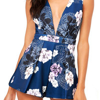 Fashion Flower Print Deep V Sleeveless Backless Romper Jumpsuit Shorts