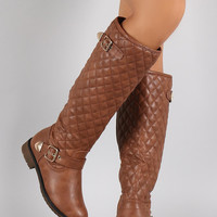 Quilted Buckled Riding Knee High Boots
