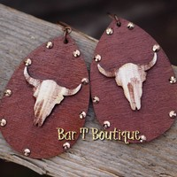Wyoming Cow Skull Earrings