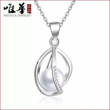 Freshwater Pearl Twist Cage Sterling Silver Pendant Necklace, Chain Gift