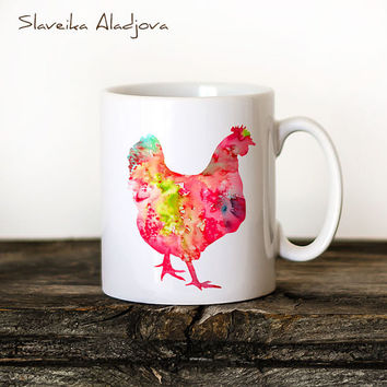 Chicken Mug Watercolor Ceramic Mug Unique Gift Coffee Mug Animal Mug Tea Cup Art Illustration Cool Kitchen Art Printed  print
