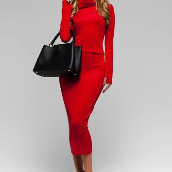 UGHI Red Two Piece Dress Suit - Midi Bodycon Dress