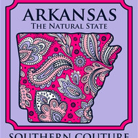 Southern Couture Arkansas  Preppy Paisley State Pattern Natural State Girlie Bright T Shirt
