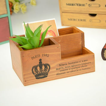 Wooden Pen Storage Box Creative Gifts Home Decor [4923085892]