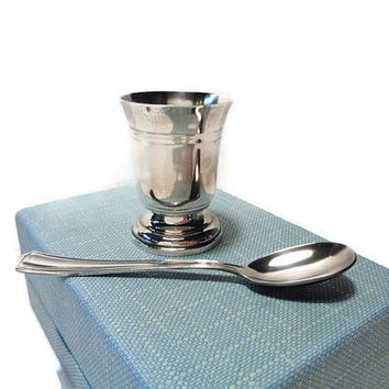 Silver Egg Cup and Spoon Set . In Original Storage Box .