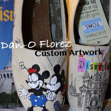 Vintage Disneyland and Mickey Mouse kissing Minnie Mouse Themed Custom painted Disney on TOMS or Vans Artwork only Shoes not included
