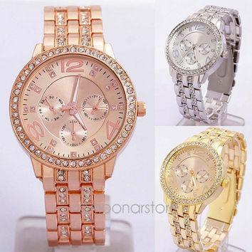 New Fashion Geneva Crystal Women Men Unisex Stainless Steel Quartz Wrist Watch = 1956385860