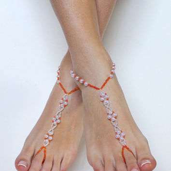 Orange and White Beaded Barefoot Sandals