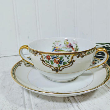 Bouillon Cup & Saucer Set 2 Pieces of Noritake Morimura Chelsea Pattern Soup Bowl + Matching Saucer Individual Fine China Set - 11 Available