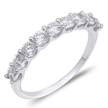 1.99TCW Russian Lab Diamond Wedding Band Half Eternity Ring