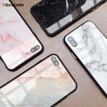 fsmallwish Granite Stone Marble Texture Pattern Case For iphone 6 6S 7 8 Plus X Tempered Glass Soft Phone Cases Cover Coque
