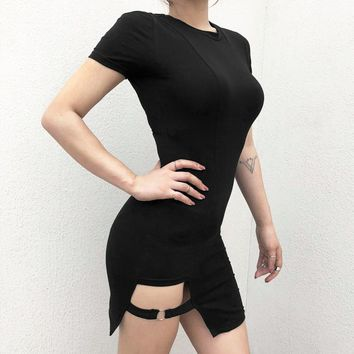 Ins with short sleeve irregular thigh strap openwork dress female Xia Xin slim sexy bottoming hip wrap skirt