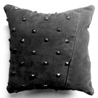 Black Denim Studded Pillow - Decorative Pillow