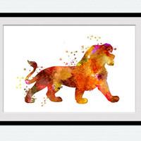 Lion king colorful poster Lion king print Disney watercolor decor Disney poster art Lion king decor Home decoration Kid room wall decor W444
