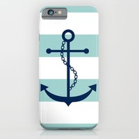 Navy Blue and Mint Anchor and Stripes iPhone & iPod Case by heartlocked