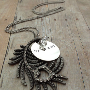 """Silver Peacock Feather """"blessed"""" Necklace, Hand Stamped"""