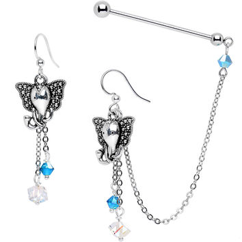 Industrial Barbell Chain Earrings Created with Swarovski Crystals