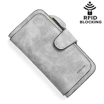 RFID Blocking Leather Wallet Large Capacity Clutch Purse Checkbook Card Holder Organizer for Women Girls Valentines Day Gift