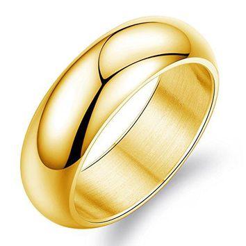 7mm Simple Style Titanium Stainless Steel Wedding Ring Domed 18k Gold Engagement Band