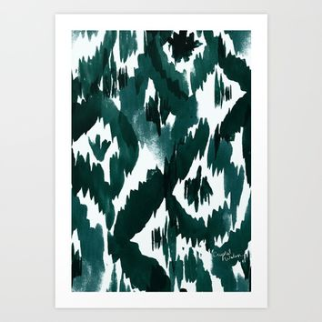 Ikat Diamonds Deep Sea Art Print by Crystal Walen