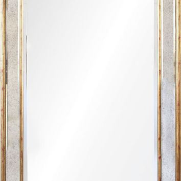 Quick Overview:Antiqued Gold Leaf Queen Anne Mirror Framed Mirror