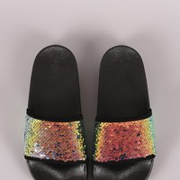 Qupid Sequin Open Toe Slide Sandal
