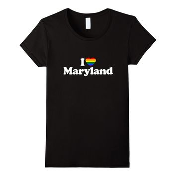 Love Maryland Heart LGBT LGBTQ Flag T-Shirt
