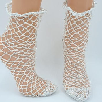 White ankle fishnet socks with sequins crocheted hipster socks popular