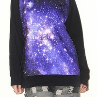 Galaxy Universe Outer Space Sweater Black Long Sleeve Shirt Size L