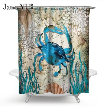 JaneYU 23 Colors Bath Shower Curtain Home decor bathroom Accessories Villa With Swimming Pool Personalized Printing Waterproof