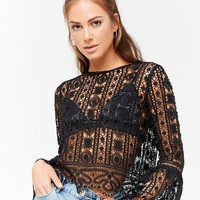 Sheer Ornate Crochet Top