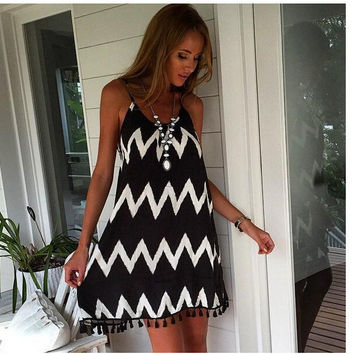 White Black Striped Backless Tassel Loose Short Dress