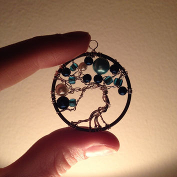 Evening tree pendant, tree of life- blue beads and silver coated wire tree wrapped nickel-free frame