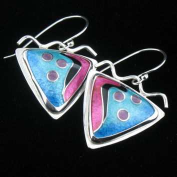 Cloisonne' Enamel Earrings by JewelryByLanni on Etsy