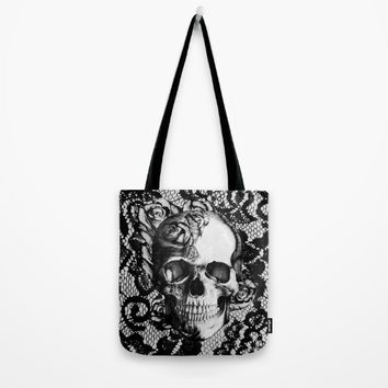 Rose skull on black lace base. Tote Bag by Kristy Patterson Design