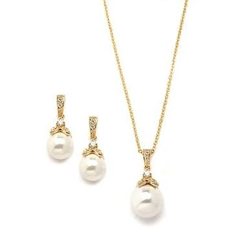 Gold Pearl Drop Necklace Set with Vintage CZ 3045S-G