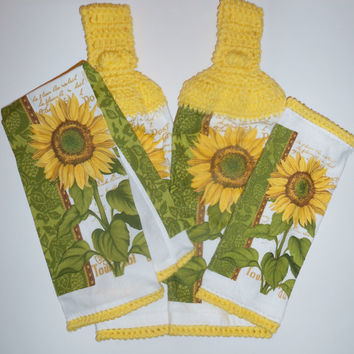 Sunflower Kitchen Set, Crochet Hanging Towels, Dish Cloth, Cotton Towel