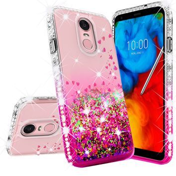 LG Stylo 4 Case, Stylo 4 Plus, Q Stylus Case Liquid Glitter Phone Case Waterfall Floating Quicksand Bling Sparkle Cute Protective Girls Women Cover for Stylo 4/Stylo 4 Plus/Q Stylus - Hot Pink
