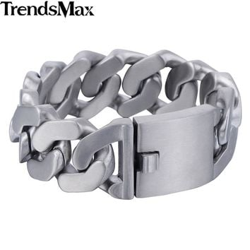 Trendsmax Men's Bracelets Hip Hop Matte Curb Cuban Link Chain 316L Stainless Steel Bracelet For Male Jewelry Gifts 27mm KHB409