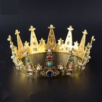 Classic Medieval Kings Crown Golden Colorful Stones