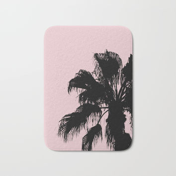 Palm Tree Silhouettes On Pink Bath Mat by ARTbyJWP