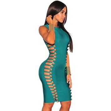 Army Green Bandage Gold Button Cut Out Sides Dress
