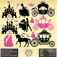Cinderella, Princess, Castle Digital Vector Clip Arts - SVG, eps, dxf, PNG - Cut Files for Silhouette, Cricuit, SCAL die cutting cv-610