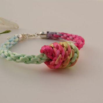 Pastel Shades Knotted Rope Bracelet. Kumihimo Braided Bracelet. Satin Cord Bangle.  Christmas Gift.