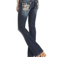 Miss Me Jeans, Bootcut Dark-Wash Embroidered Rhinestone - Jeans - Women - Macy's